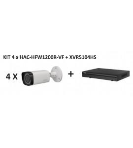 KIt 4 camere HDCVI bullet de exterior 2Megapixeli Dahua HAC-HFW1200R-VF + DVR 4 canale HDCVI Pentabrid Dahua XVR5104HS